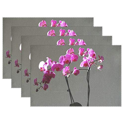 (Orchids Purple Flowers Placemats Set Of 4 Heat Insulation Stain Resistant For Dining Table Durable Non-slip Kitchen Table Place)