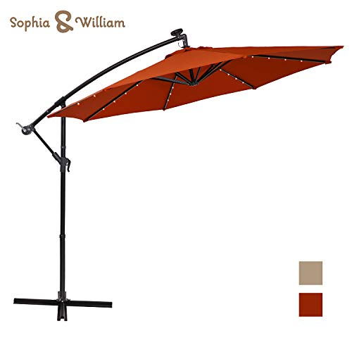 Sophia and William 10ft Patio Offset Umbrella Cantilever Outdoor Solar Lighted Umbrella with 32 PCS LED Lights, Cross Base and 8 Ribs (Orange Red)