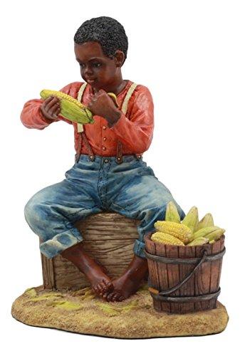 Ebros Vintage Black Americana History African American Boy Shucking Corn Statue 6