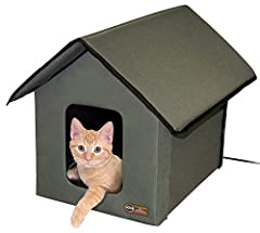 The K&H outdoor kitty house is available in both heated and unheated models and is the original outdoor heated kitty house, don't be fooled by inferior imposters! K&h products are made with high quality materials for your pet's comfor...