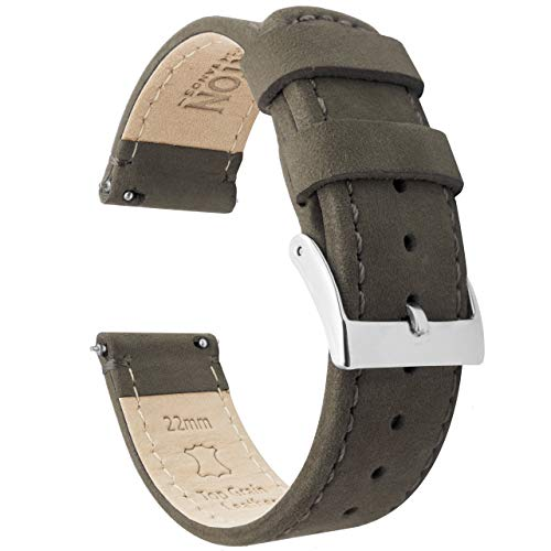 Barton Quick Release - Top Grain Leather Watch Band Strap - Choice of Width - 16mm, 18mm, 19mm, 20mm, 21mm 22mm, 23mm or 24mm - Espresso (Dark Brown) - Top Espresso Leather Grain