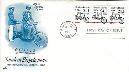 United States Scott 2266 24.1c Tandem Bicycle Transportation Plate Number Coil 1 Strip of Three 1988 Redmond WA 98052 First Day of Issue. Artcraft Cachet. Unaddressed.