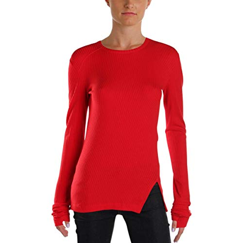 - Helmut Lang Womens Ribbed Knit Pullover Top Red L
