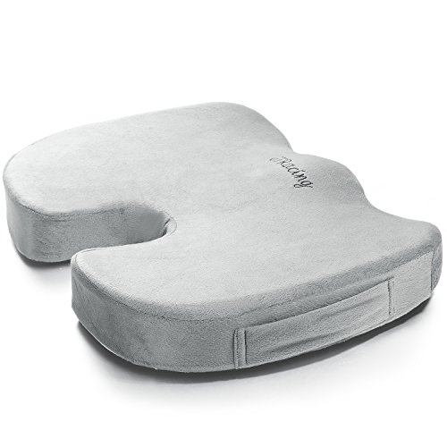 GTRacing 100% Pure Memory Foam Luxury Office Chair and Car Seat Cushion, Orthopedic Design To Relieve Back, Sciatica and Tailbone Pain GRAY