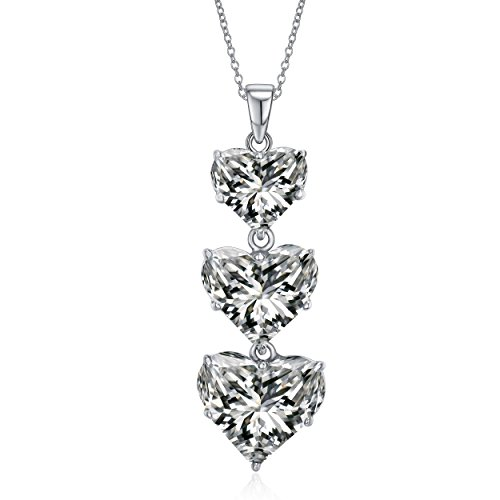 Classic Triple Heart (Lux and Glam-Lovely Romantic Cubic Zirconia Triple Heart Pendant Necklace-Sterling Silver Jewelry)