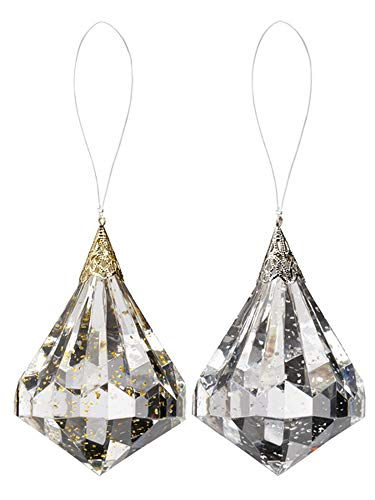 Ganz Suspended Glitter Jewel Hanging Ornaments Set of 2 Assorted Assorted Glitter Christmas Ornaments