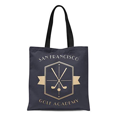 Semtomn Cotton Canvas Tote Bag Vintage Golf Academy Emblem Clubs Gold on Dark Crossed Reusable Shoulder Grocery Shopping Bags Handbag Printed