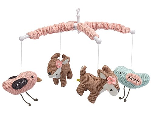 (Lolli Living Baby Musical Mobile with Sparrows. Woodland Animal Knitted Character Wind-Up Mobile. )