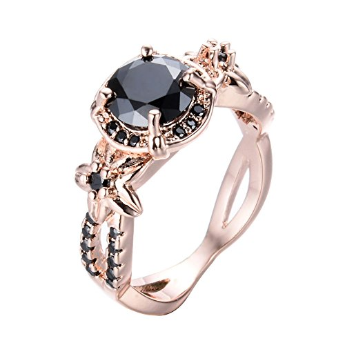 Cosines Jewelry - Vintage Round Cut Black Sapphire Wedding Ring 10KT Rose Gold Filled Band Size (Claddagh Duo)