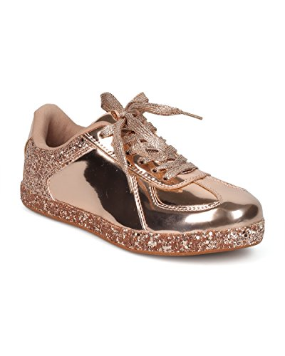 Alrisco Women Glitter Encrusted Holographic Lace Up Lage Top Sneaker - Hf70 By Qupid Collection Rose Goud Metallic