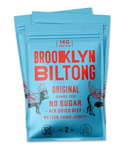 Brooklyn Biltong - Air Dried Grass Fed Beef Snack, South African Beef Jerky - Whole30 Approved, Paleo, Keto, Gluten Free, Sugar Free, Made in USA - 2 oz. Bags, 3 Count (Original)