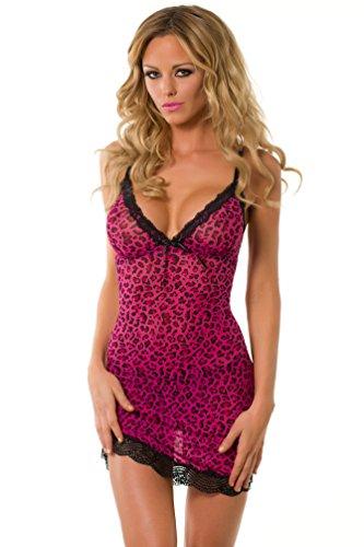 Velvet Kitten Lady Leopard Chemise #3229 (Medium/Large, Fuchsia) - Leopard Print Chemise