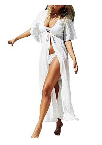 NFASHIONSO Long Maxi Beach Dress Swimsuit Sunscreen Bikini Cover Up Bathing Suit,White (Open Front Swimsuit Cover Up)