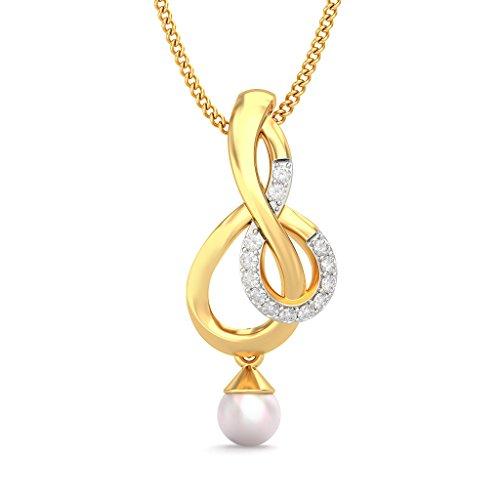 14K Or jaune 0.12CT TW Round-cut-diamond (IJ | SI) et blanc perle Pendentif