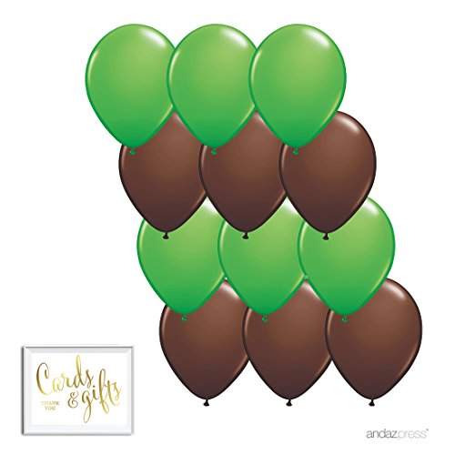 Andaz Press 11-inch Latex Balloon Duo Party Kit with Gold Cards & Gifts Sign, Kiwi Green and Brown, 12-pk, Woodland Forest Camouflage Birthday (Camouflage Latex Balloons)