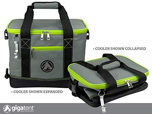 GigaTent Insulated Collapsible Cooler - Soft Lunch Box with Bottle Opener for Camping
