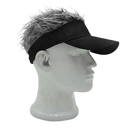 Spiked Hair Hat,Aolvo Unisex Novelty Adjustable Flair Hair Visor Hat Golf Wig Cap Cool Baseball Cap