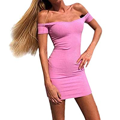 ANJUNIE Women Short Sleeve Off Shoulder V Neck Mini Dress Solid Slim Fit Bodycon Dress
