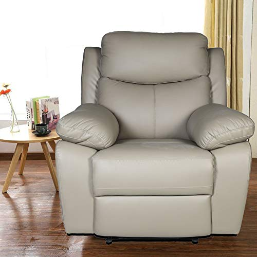 livelyhome half leather standard recliner  ash