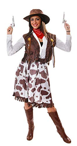 5 Piece Ladies Wild West Jessie Cowgirl Cowboy Sheriff Fancy Dress Costume Outfit STD & Plus Size (Plus (UK 16-20)) -