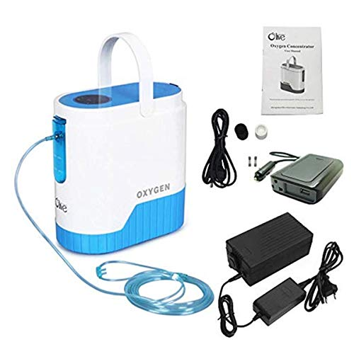 COXTOD 1-5L/min Portable Adjustable Oxygen Concentrator for Travel use,with 10000mAh Lithium Battery for Home and Travel Use, AC 110V - Light Lithium 2l