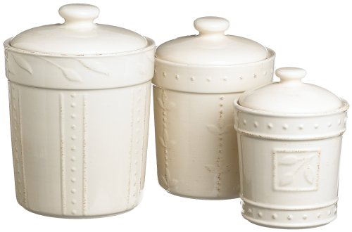 - Signature Housewares Sorrento Collection Canisters, Ivory Antiqued Finish, Set of 3