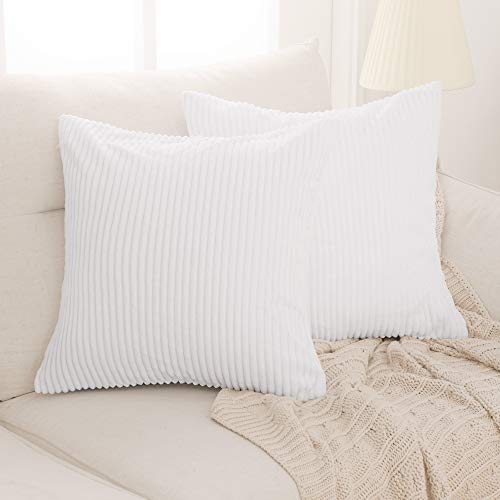 Deconovo Throw Pillow Covers Corduroy Style Cushion Cover Set of 2 with Stripe Pattern Machine Washable for Bedroom Living Room