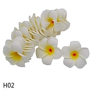 entertainment-moment 20Pcs Plumeria Hawaiian Foam Frangipani Flower Artificial Silk Fake Egg Flower for Wedding Party Decoration,H02,7Cm 46