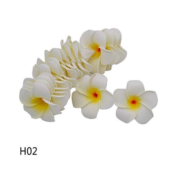 entertainment-moment 20Pcs Plumeria Hawaiian Foam Frangipani Flower Artificial Silk Fake Egg Flower for Wedding Party Decoration,H02,7Cm