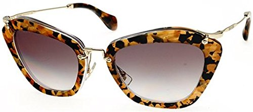Miu Miu 10NS DHF0A7 Marbleized Caramel 10NS Noir Cats Eyes Sunglasses Lens - Miu 10ns Miu Sunglasses