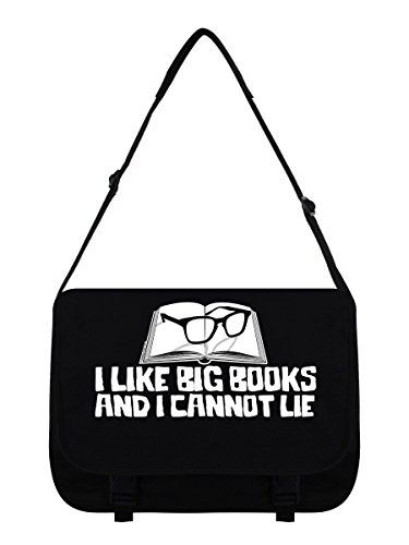 Messenger Bag I Like Big Books schwarz 38 x 33 x 11 cm