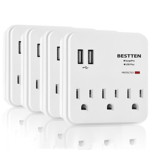 [4 Pack] BESTTEN USB Wall Tap, Multi-Plug Surge Protector with 2 USB Charging Ports and 3 Electrical Outlets, Power Strip Splitter, ETL Certified, White