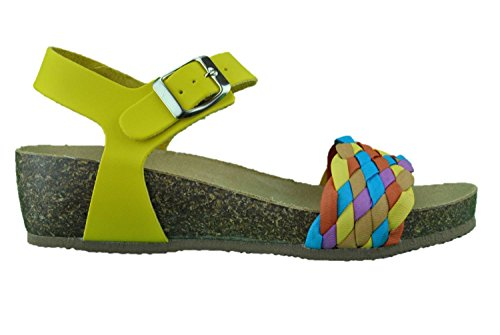 Sandali donna open toe giallo bio pelle made in Italy
