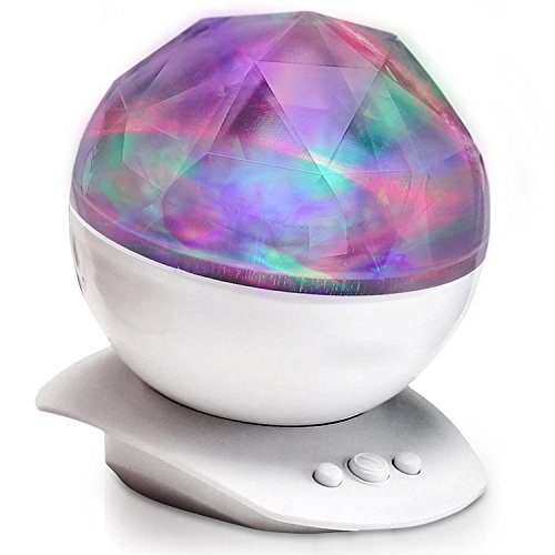 Aurora Projection Color Changing Sleep Soother with Speaker, Teen Room Decor Lamp for Baby Nursery, Ocean Wave Projector Night Light for Kids Boys Girls and Adult in Bedroom, Living Room White