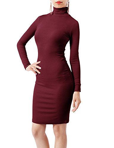 H2H Womens Long Sleeve Ribbed Knit Cowl Neck Mini Dress Wine US XL/Asia XL (CWDSD0149)