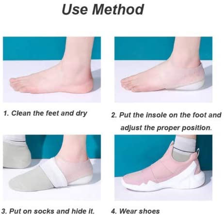Concealed Footbed Enhancers Invisible Height Increase Soft Silicone Heel Insoles for Women Men 1.6//2 Inch