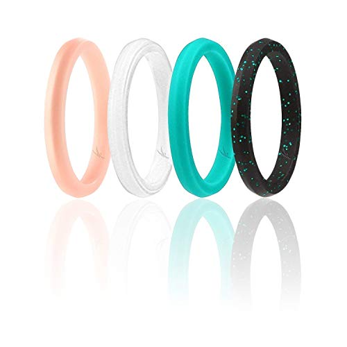 (ROQ Silicone Wedding Ring for Women, Set of 4 Thin Stackable Silicone Rubber Wedding Bands Point- Black with Silver Glitter, White, Turquoise, Rose Gold - Size 6)
