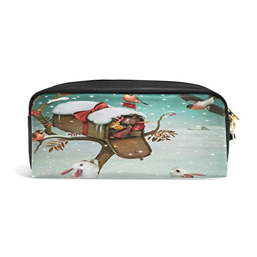 s Rabbit Bunny Bird Big Stationery Holder Cosmetic Bag with Zip Art Colored Pen Pouch for Kids Girls Boy (1 Pack) ()