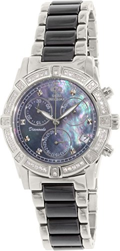 Swiss Precimax Women's SP12076 Desire Elite Ceramic Diamond Mother-Of-Pearl Dial Watch
