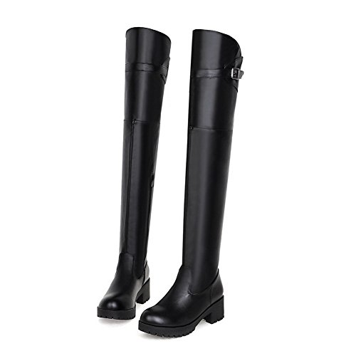 Zipper Imitated Chunky Heels Platform Black Buckle Leather Ladies Boots 1TO9 4n1YTSXw