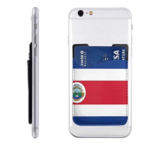 GUIYTQ5R Costa Rica Flag Polyester Flag Cell Phone Card Holder, Stick On Wallet for Back of Phone,Phone Pocket ID Credit Card Holder Sleeves Pouch for All -
