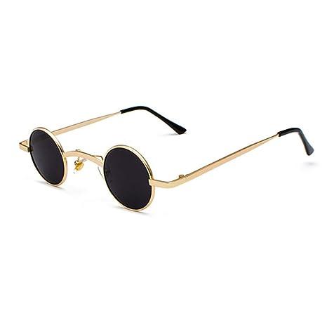 35950a3b3 Small Round Steampunk Sunglasses Men Women Metal Frame Vintage Sun Glasses  UV400 CC1029 C1 Gold black