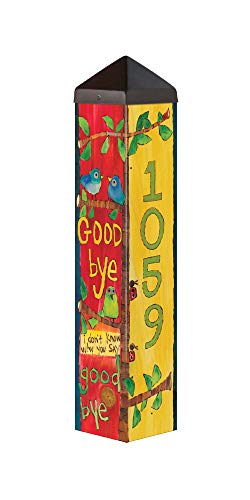 (Studio M Hello Goodbye Custom Personalized Art Pole Lennon and McCartney Lyrics Decorative Street Address Marker Outdoor Garden Post Patented Design Easy Installation 24 in. Tall)