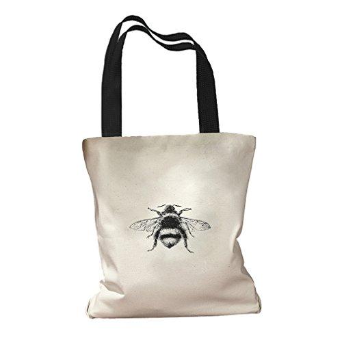Bumblebee Vintage Look #2 Canvas Colored Handles Tote Bag - ()