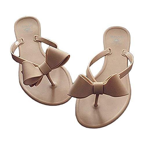 heipeiwa Womens Flip Flops Bow Jelly Sandals Dress Summer Beach Shoes Thong Slippers Nude -