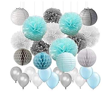 Amazoncom 45pcs Boy Baby Shower Decoration Baby Blue Grey White
