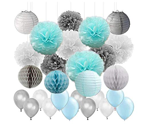 45Pcs Boy Baby Shower Decoration Baby Blue Grey White Tissue Paper Pom Poms Paper Lanterns and Latex Balloon Wedding Baby Shower Birthday Party Decoration -