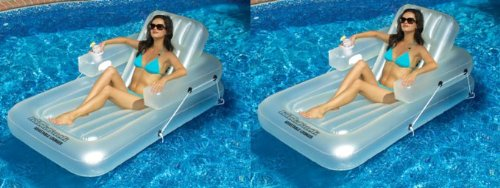 2 New Swimline 90521 Swimming Pool Inflatable Kickback Lounger Adjustable Floats