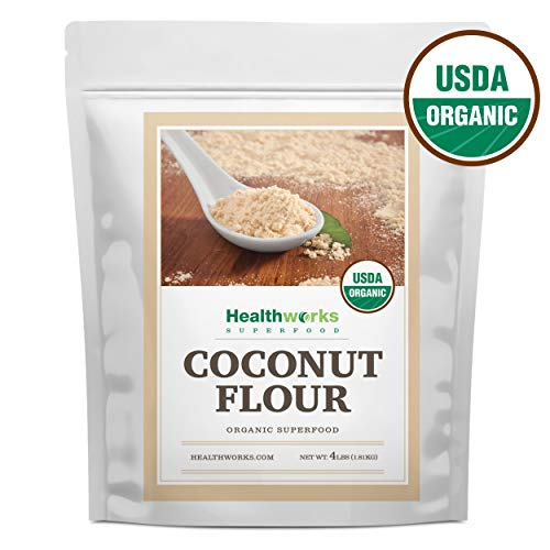 Healthworks Coconut Flour Unrefined Raw Organic (64 Ounces / 4 Pounds) |Certified Organic |Keto, Vegan & Non- GMO |Protein Based Whole Foods | Pancakes, Waffles, Bread & Other Baked Goods