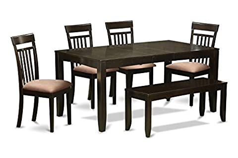 East West Furniture LYCA6-CAP-C 6-Piece Kitchen Table with Bench, Cappuccino Finish - Extendable Dining Table Set